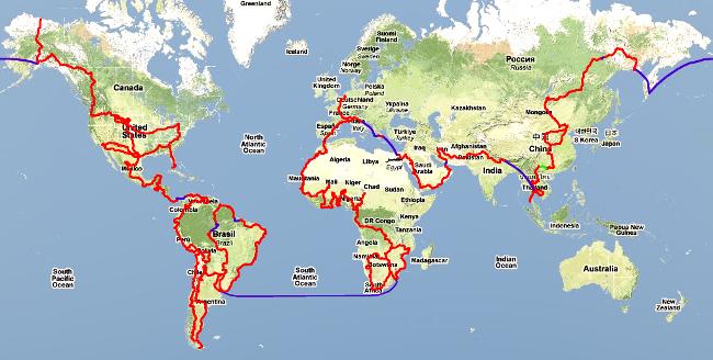 Mapa - cesta kolem sveta